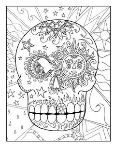 Sugar Candy Skull Coloring Pages For Kids Or Adults Downloadable And Printable Perfect