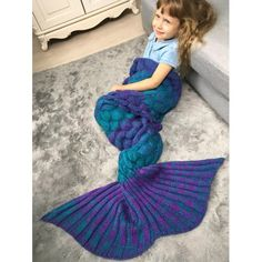 Color Block Fish Scale Crochet Knit Warm Mermaid Blanket Throw For Kids In Colormix | Twinkledeals.com