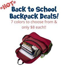 **HOT** Back To School- Kids Backpacks as low as $8 each!! Back To School Backpacks, Backpacks For Sale, Cute Backpacks, Back To School Deals, Back To School Kids, Red Backpack, Online Deals, Girls Hair Accessories, Zipper Bags
