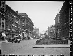 Broadway Series. Looking north from 84th Street. Bretton Hall at extreme right edge of picture. Bird and goldfish store at the left is on corner of 85th Street.  Arthur Hosking, June 1, 1920.
