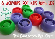 8 Activities for Kids with Lids doe Eco friendly Fun for Earth Day Nickles Valk Chuah Educators' Spin On It Kids Crafts, Craft Activities For Kids, Infant Activities, Educational Activities, Preschool Activities, Preschool Lessons, Activity Ideas, Kids Diy, 4 Kids