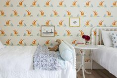 """Katie Ritter's Beetlecat wallpaper strikes a rare colorful note with its orange accents. """"I got steamrolled on that decision completely,"""" says Mark. """"But it was the right call."""""""