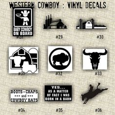 MEDIUM COWBOY Vinyl Decals Car Decal Laptop Sticker - Cowboy custom vinyl decals for trucks