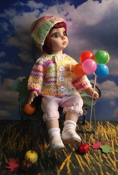 """~CoLoR Me~...a sweet hand knitted sweater and hat set for Tonner Patsy or Ann Estelle 10"""" Dolls."""