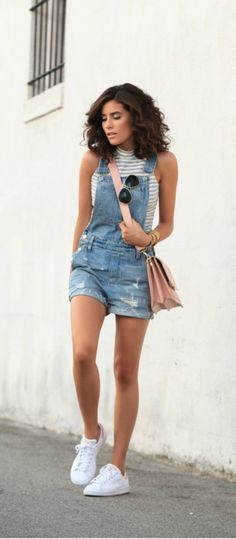casual-spring-fashion-looks-for-teens-girls || Casual Spring Fashion Outfits || Denim Romper with sneakers ||