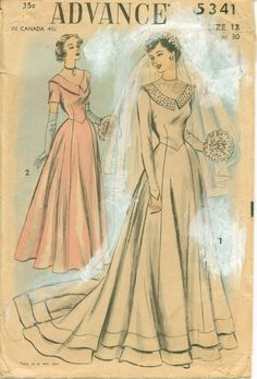 Vintage 1940s Sewing Pattern - Exquisite Wedding Gown and Bridesmaids Attire - ADVANCE 5341. $18.50, via Etsy.