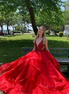 Red A Line Long Prom Dresses, Formal Dress, Evening Dress, Dance Dresses, School Party Gown OKX58 Best Prom Dresses, Prom Outfits, Beautiful Prom Dresses, Dance Dresses, Homecoming Dresses, Bridal Dresses, Formal Dresses, Party Gowns, Quinceanera Dresses