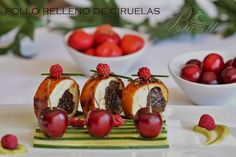 Pollo laqueado relleno de ciruelas Cooking Time, Poultry, Baked Potato, Main Dishes, Seafood, Appetizers, Pudding, Meat, Chicken