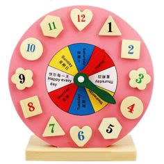 Children Intellect Shape Matching Digital Clock Baby Blocks Kids Educational Wooden Training Toys -- Awesome products selected by Anna Churchill