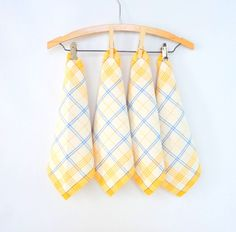 Napkins 4 Vintage Linen White Blue Yellow Plaid Picnic Table Eco Napkin Vintage Kitchen Luncheon Something Old Wedding Upcycle Quilt Supply by injoytreasures on Etsy