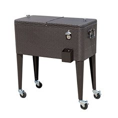Outsunny B2 0013 Rolling Ice Chest Portable Patio Party Drink Cooler Cart,  80