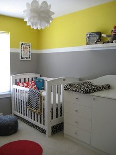 """Yellow and grey are two of our favorite colors and together here they are a match made in heaven (not to mention the cool pops of red). Sherri tells us about her son's terrific room: When I found out we were having a boy the first thought that popped into my mind was, """"How on earth can I decorate a baby boy's room?"""" I had had a lot of fun decorating my daughter's room - I found it so easy to just go crazy with colour, texture and patterns, but with a boy I wasn't quite sure what to do."""