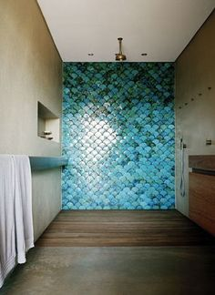 Sarah Davidson Palm Beach House. Love the fish scale textured wall!! So cool in a bathroom