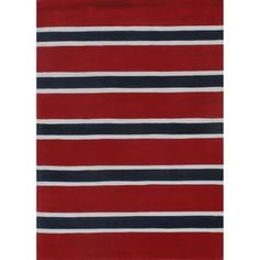 """Rugby Stripe Red/Blue Hand-Tufted Rug (3'6"""" x 5'6"""")   Overstock.com Shopping - The Best Deals on 3x5 - 4x6 Rugs"""