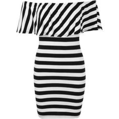 e6a4f626071 Miss Selfridge Stripe Ruffle Bardot Dress เสื้อผ้า