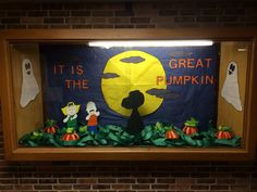 It is the Great Pumpkin! Fans of Peanuts will recognize this scene recreated for the display case in a local elementary school by The Bulletin Board Queen. Happy Holiday Favorite! Created by The Bulletin Board Queen.