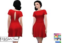 7893a9095b2 Butterfly Sleeve Dress (25 Swatches) - created by NY Girl Sims Sims 4  Vintage