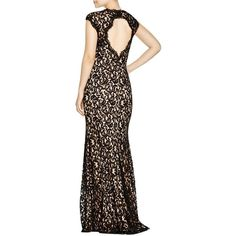 Pre-owned Tadashi Shoji Black Lace Contrast Lace Gown Dress (10,810 PHP) ❤ liked on Polyvore featuring dresses, gowns, black lace, black lace gown, black dress, formal evening dresses, formal dresses and black formal gowns