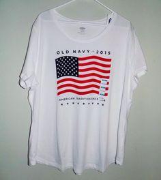 NWT Patriotic womens shirt XXL/TTG Old navy American flag white casual t-shirt #OldNavy #GraphicTee