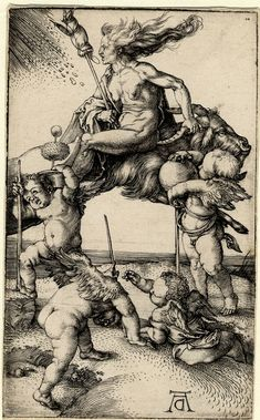 Museum number: 1868,0822.188  Description: A witch riding backwards on a goat, with four putti carrying an alchemist's pot, a thorn apple plant. c.1500 Engraving  Producer name: Print made by: Albrecht Dürer  Curator's comments:   This engraving was made in about 1500. soon after Dürer's engraving 'Four Witches or Four Naked Women' (dated 1497; Hollstein 69). They are Dürer's only prints which relate directly to the contemporary obsession with witches