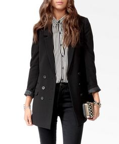 Longline Double Breasted Jacket | FOREVER21 - 2019570877 - love jacket but hate shirt