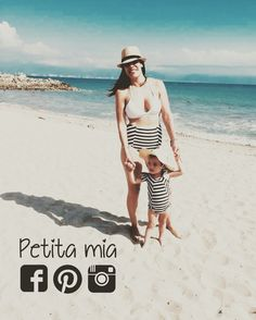 Los mejores momentos de la vida siempre serán tomadas de la mano! #petitamia Baby beach outfit. Swimwear. Traje de baño madre e hija. Como mamá. Playa.