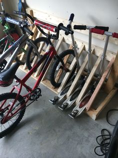 Bike rack made from scrap 2x4s