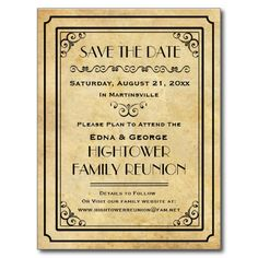 Vintage Family Reunion Party Event Save the Date Postcard