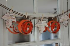 Swirly Pumpkin and Leaf Garland | HappyClippings.com
