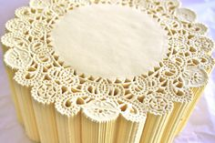 "50 Round 5"" SPRING YELLOW French Lace Paper Doilies"