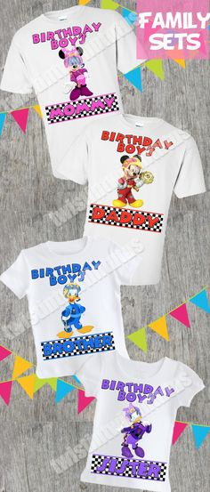 Mickey and the Roadster Racers Family Birthday Shirt Set Mickey Mouse Birthday Shirt, Family Birthday Shirts, Mickey Mouse Clubhouse Birthday Party, Family Birthdays, Mickey Mouse And Friends, First Birthdays, Baby Birthday Themes, 1st Boy Birthday, Birthday Ideas