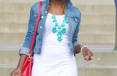 Jean jacket + necklace ... I saw an outfit like that at Charming Charles store