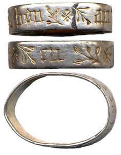 """Silver finger ring, late medieval about 15th century AD, """"en bon an"""" (New Year's gift association"""""""