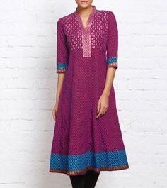 Pink Cotton Anarkali Kurta | IndianRoots.com