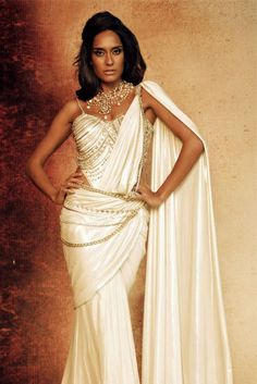 White Drape Concept #Saree by Tarun Tahiliani.