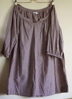 Cotton tunic shirt vintage clothing scandinavian chic size L