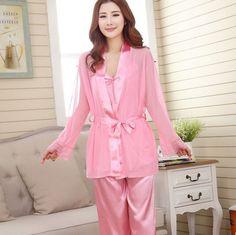 Silk Satin Pajamas Set Women Sexy 3 Piece Sleep Suit Silk Pajamas Set of  Pants Spring fa71657ba
