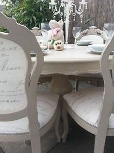 Beautiful and absolutely stunning French style shabby chic ornate table with 6 Louis chair's. Painted with Annie Sloan chalk paint in the ' County Grey ' shade over ' Old White ' shade. Sympathetically distressed and a clear wax finish. For sale now on eB