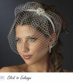 Pearl & Crystal Decorative Bridal Headband with Bird Cage Veil - Etsy