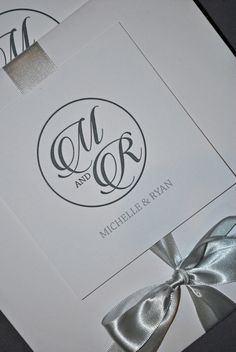Grey and white letterpress wedding invitations
