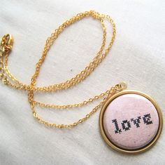 "Mixed-Media Valentine Cross-Stitch LOVE Pendant Necklace. Raw Brass 18"" Nickel Free."