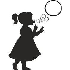 Silhouette Little Girl Blowing Bubbles Siluetas on pinterest silhouette, clip art and vintage clip art
