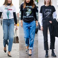 According to the fashion week street style stars, the graphic tee layered over a long sleeve shirt is back.