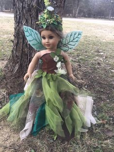 Green Flower Fairy Tale Elf Dress Tinkerbell Loose Clothes For 12 in Girl Doll