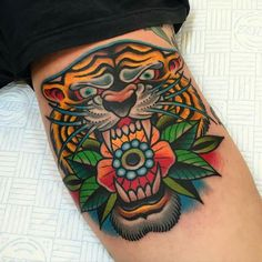 Traditional tiger tattoo, full colour