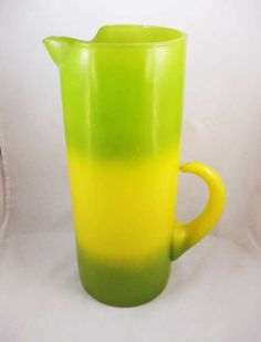 Vintage Blendo West Virginia Glass Pitcher Green and Yellow