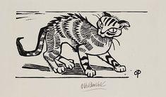 Katze - holzschnitt 1947 - Otto Pankok, 1893-1966 Deutschland