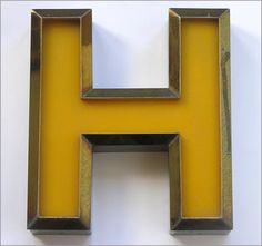 Metal and perspex vintage letter 'H', from 'HOTEL', vintage signage