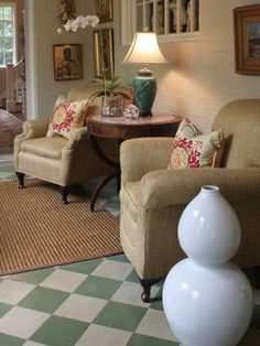 Seagrass chairs and painted floor