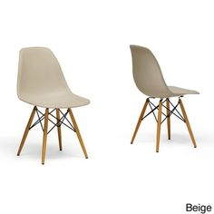 @Overstock - Azzo Beige Plastic Mid-Century Modern Shell Chairs (Set of 2) - Each of these mid-century modern dining chairs in this set of two is made from durable molded polypropylene plastic with an ergonomically-shaped curved seat.   http://www.overstock.com/Home-Garden/Azzo-Beige-Plastic-Mid-Century-Modern-Shell-Chairs-Set-of-2/8564354/product.html?CID=214117 $134.99